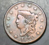 1820 SMALL DATE CORONET HEAD LARGE CENT -  FINE PLUS - 19089 SHIPS FREE