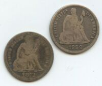 1872 & 1888-S SEATED DIMES GOOD OR BETTER 12125