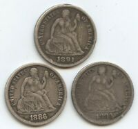 1883, 1886 & 1891 SEATED DIMES 12100 VF-EXTRA FINE  CLEANED & PROBS.