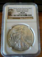 2012 S SILVER EAGLE S$1 NGC MINT STATE 69 EARLY RELEASE STRUCK AT SF C143