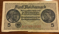 GERMANY BANKNOTE. 5 REICHSMARK. DATED 1940. PICK R138. VINTAGE NOTE.