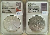 2016-W BURNISHED  AMERICAN SILVER EAGLE SET OF 2 COINS-NGC MS70 FDI