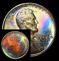 UNCIRCULATED 1948 S BU 52D VIBRANT RAINBOW MONSTER TONED PENNY WHEAT CENT