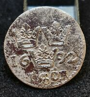SWEDEN 1 RE ORE 1692 CARL XII SILVER COIN