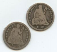 1850 & 1891-S SEATED DIMES 12161