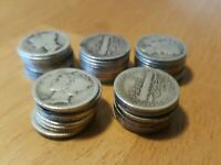 ROLL OF 50 MERCURY SILVER DIMES 1916  1917  1918  & 1919 PDS
