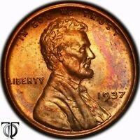 1937  LINCOLN WHEAT CENT, TONED 1.135