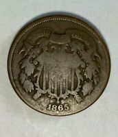 1865 COPPER TWO CENT PIECE. A HISTORICAL CIVIL WAR ERA COIN