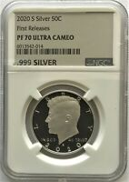 2020 S SILVER PROOF KENNEDY 50C FIRST RELEASES NGC PF70 .999