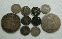 LOT OF 8 SEATED LIBERTY & BUST HALF DIMES   2 SEATED HALVES