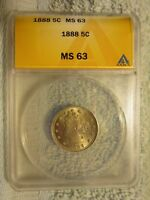 1888 LIBERTY NICKEL  ANACS GRADED MINT STATE 63