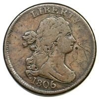 1806 C 4 LARGE 6 STEMS DRAPED BUST HALF CENT COIN 1/2C