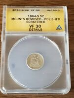 1864 S SEATED LIBERTY HALF DIME ANACS GRADED VF 30  DETAILS