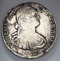 1805 MEXICO SPANISH COLONY SILVER 8 EIGHT REALES COIN