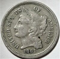 1881 THREE CENT NICKEL CHOICE  TO  FINE VF EXTRA FINE  3CN TYPE COIN 3