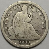 1838 SEATED LIBERTY DIME  GOOD VG NO DRAPERY LARGE STARS 10C VARIETY COIN