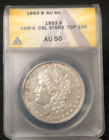 1893 MORGAN DOLLAR $1 ANACS AU 50 VAM-4 DOUBLE STARS TOP 100 DETAILS NH
