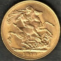 1918 P  KING GEORGE V. PERTH GOLD SOVEREIGN  END OF WORLD WA