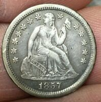 1857 O SILVER SEATED LIBERTY DIME VARIETY 2 BEAUTIFUL DETAILS