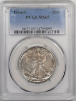 1944-S WALKING LIBERTY HALF DOLLAR - PCGS MINT STATE 65, PRETTY END OF THE ROLL TONING