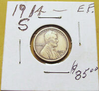 HIGHER GRADE 1914 S..LINCOLN  WHEAT CENT PENNY LOT.E.F. DETAIL.