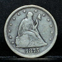 1875 S 20 CENT PIECE  VF FINE DETAILS  20C SILVER CLEANED G91 TRUSTED