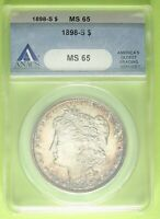 1898-S MORGAN SILVER DOLLAR ANACS MINT STATE 65 GREAT COIN WITH   TONING