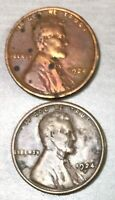 1924 P & S LINCOLN WHEAT CENT, US ONE CENT 2 COINS  1