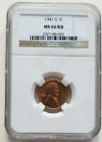 LINCOLN CENT, 1941S, NGC - MINT STATE 66RD