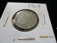 1908 LIBERTY HEAD 'V' NICKEL IN  GOOD  CONDITION AND PROTECTIVE COIN HOLDER