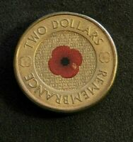 2012 AUSTRALIAN $2 DOLLAR COIN   REMEMBRANCE 'RED POPPY'
