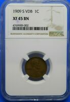 1909-S VDB VICTOR DAVID BRENNER 1 CENT LINCOLN PENNY NGC EXTRA FINE  45 BN - FREE SHIP