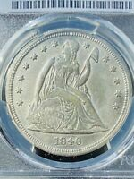 1846 SEATED LIBERTY SILVER DOLLAR ONLY 110 600 MINTED. RARE.