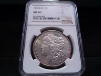 1878-CC MINT STATE 63 MORGAN SILVER DOLLAR NGC CERTIFIED - WHITE/LIGHT GOLD TONE/PQ