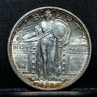 1917-D T1 STANDING LIBERTY QUARTER  UNCIRCULATED DETAIL  25C SILVER TRUSTED