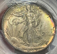 1939 WALKING LIBERTY HALF DOLLAR PCGS MINT STATE 64 BEAUTIFUL TONING HARD TO GET PIC