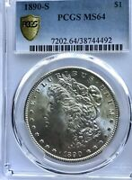 1890-S MORGAN SILVER $1 PCGS MINT STATE 64 GORGEOUS BRIGHT WHITE