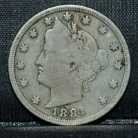 1884 LIBERTY V NICKEL  F FINE  5C  NOW TRUSTED