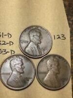 1931-D,1932-D,1933-D LINCOLN WHEAT CENT SET, 3 COINS, TOUGH DATES, 123