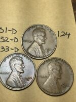 1931-D,1932-D,1933-D LINCOLN WHEAT CENT SET, 3 COINS, TOUGH DATES, 124