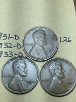 1931-D,1932-D,1933-D LINCOLN WHEAT CENT SET, 3 COINS, TOUGH DATES, 126