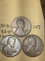 1931-D,1932-D,1933-D LINCOLN WHEAT CENT SET, 3 COINS, TOUGH DATES, 127