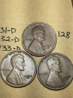 1931-D,1932-D,1933-D LINCOLN WHEAT CENT SET, 3 COINS, TOUGH DATES, 128