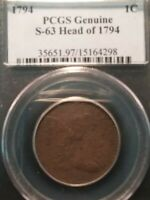 1794 LIBERTY CAP LARGE CENT S-63 R3 PCGS GENUINE HEAD OF 1794