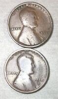 1915 P & D LINCOLN WHEAT CENT, US ONE CENT 2 COINS