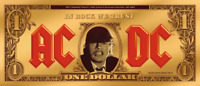 COOK ISLANDS 2019 $1 AC/DC   ANGUS BUCK 1/10 G GOLD BANKNOTE