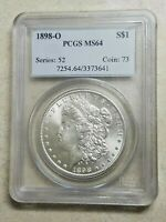 1898 O MORGAN SILVER DOLLAR PCGS MINT STATE 64 GRAND DETAIL BRIGHT WHITE HIGH GRADE COIN