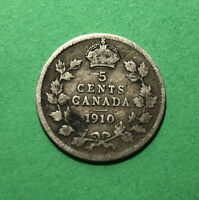 1910 CANADA 5 CENTS SILVER FIVE CENT