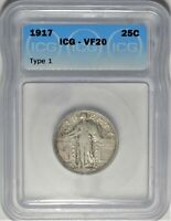 1917 T 1 25C ICG VF 20 CHOICE  FINE STANDING LIBERTY QUARTER TYPE COIN