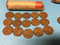1956 LINCOLN WHEAT CENT ROLL LOT OF 50 1956 D 1956 P WHEAT PENNIES ROLL